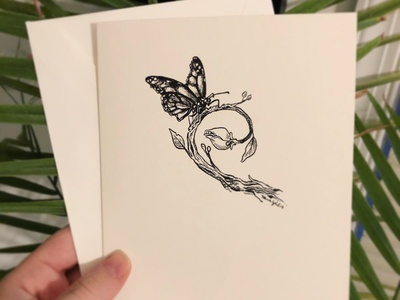 Butterfly Greeting Card handmade illustration artist hand drawn greeting cards crow quill india ink ink hand-drawn