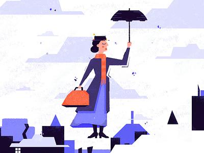 Mary Poppins marypoppins fanart disney photoshop illustrator flat vector design illustration