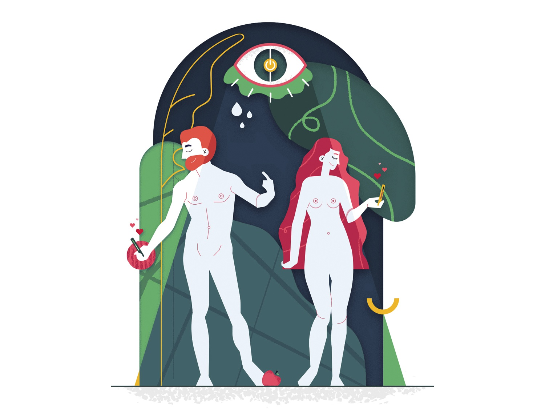 Adam & Eve adameve god mobile technology creation cute art character art beautiful love ilustracion vector illustrator flatillustration color artist photoshop flat illustration design