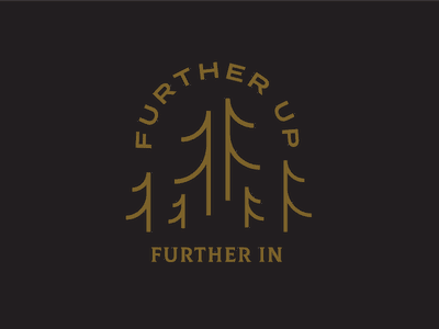 Further Up badge shirt design minimal black gold apparel lifestyle brand lifestyle clean mountains trees c.s. lewis