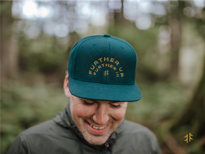 Further Up Co. Hat lifestyle lifestyle brand ferns trees woods green gold embroidery