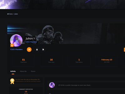 IPS 4.3 Theme [Template] for gaming stats profile modern invision game new gaming website dark webdesign designer photoshop gaming design