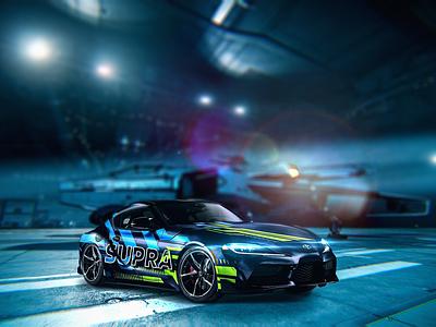 Toyota Supra - Custom Livery fast spaceship ship speed race car navy japan brand adobe scifi livery supra toyota new blue designer art design photoshop