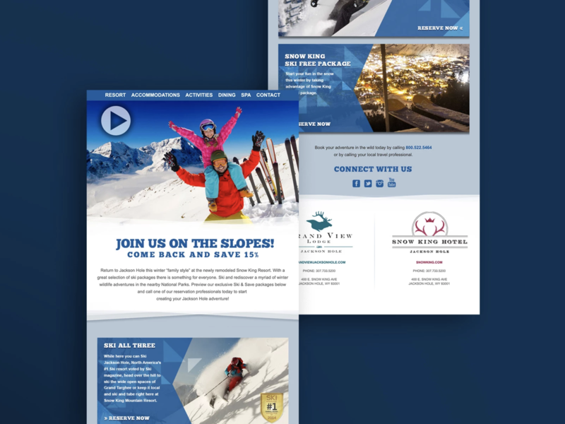Email Product Design for Snow Resort product email minimal web ux typography branding ui design