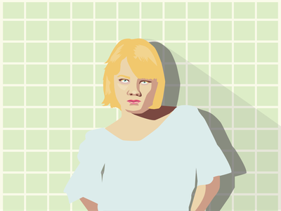 Vera design girl wall simple illustrator portrait poster lines illustraion art