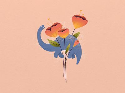 Dino bouquet dinosaur flower ipad procreate grit texture design illustration digitalart