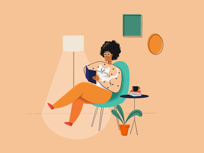 Reading character relax flat flat illustration reading character design procreate illustration