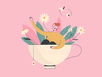 Teatime! pink cup flower teatime tea procreate character design design character digitalart illustration