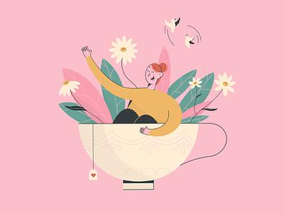 Teatime! pink cup flower teatime tea procreate character design design character digitalart illustration