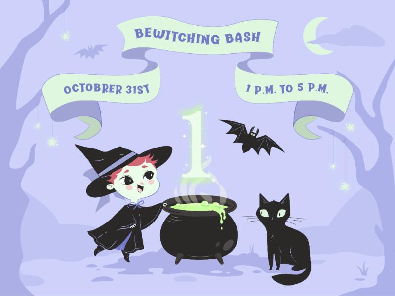 Little witch illustrator vector birthdat invitation magic black cat witch halloween illustration