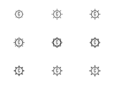 Sun Shape Exploration branding sunrays sun logo icons icon