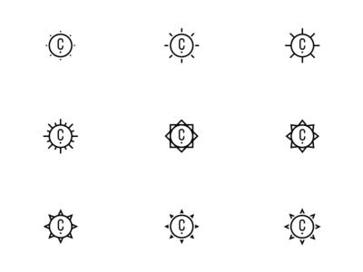 Sun Shape Exploration branding sunrays sun logo icons icon
