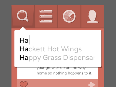 Happy Grass autocomplete search results