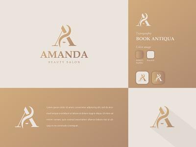 Amanda Beauty Salon dualmeaning elegant makeup beautiful beauty salon clean logo branding and identity graphic designer logo design graphic design brand