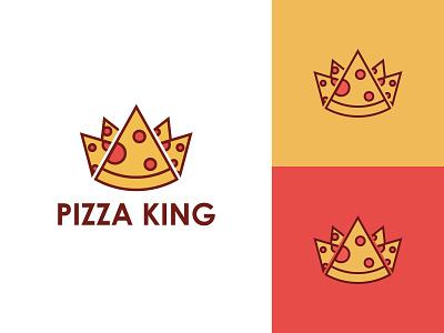 Pizza King Logo restaurant food queen royal crown king pizza logo pizza vector brandind clean logo graphic designer branding and identity logo design graphic design brand
