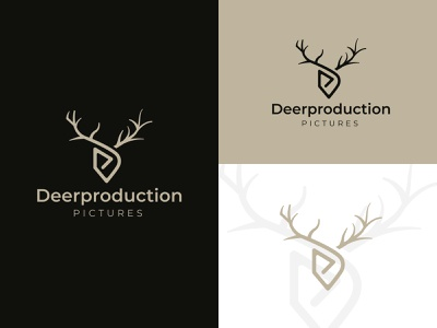 Deerproduction Pictures Logo nature smooth animal motion production digital elk deer film company movie film clean logo branding and identity graphic designer logo design brand graphic design
