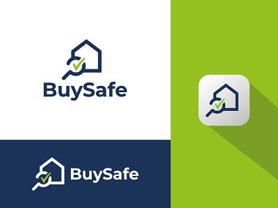 BuySafe Logo Design house smart secure marketing real estate assured safe online minimal clean logo branding and identity graphic designer logo design brand graphic design