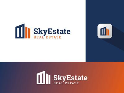 Sky Estate | Real Estate Logo ui branding design modern home real estate clean branding and identity graphic designer logo design brand graphic design logo