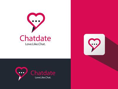 Chatdate Logo Design heart social media message love app design app chat clean logo branding and identity graphic designer logo design brand graphic design