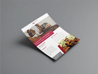 Excavator Company Flyer Design concept leaflet template corporate presentation page layout brochure poster modern print marketing design post flyer design marketing advertising clean graphic designer graphic design flyer
