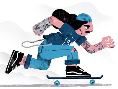 Rad Dude skateboarding charachter design rad vans skate or die skater illustration character
