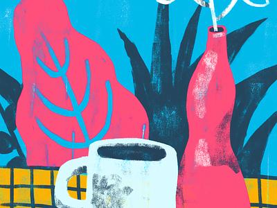 Cozy Sunday texture plant coffee illustration