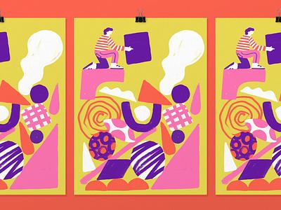 Mind at work - Full illustration poster illustration