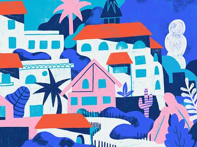 Team Trip 2018 - Detail township landscape tropical island environment buildings plants city illustration