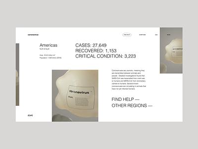 Coronavirus Information Site — Concept helvetica grid typography virus helath website minimal clean coronavirus ui design render 3d ui