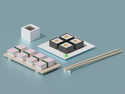 Sushi - Episode 1 Polygon Runway lowpoly sushi illustration polygonrunway 3d