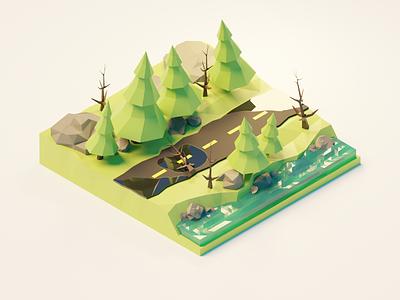 Forest Road - Episode 2 Polygon Runway polygon runway blender polygonrunway lowpoly illustration 3d