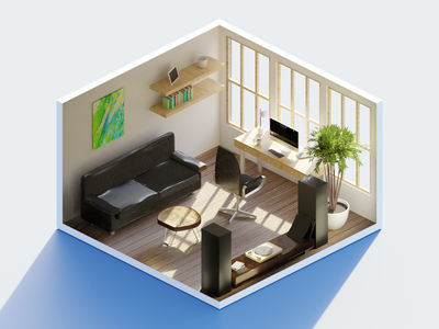 Midday in the Office - HDRI Lighting low poly polygon runway blender polygonrunway lowpoly illustration 3d