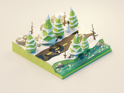 Winter Forest Road low poly polygon runway blender polygonrunway lowpoly illustration 3d