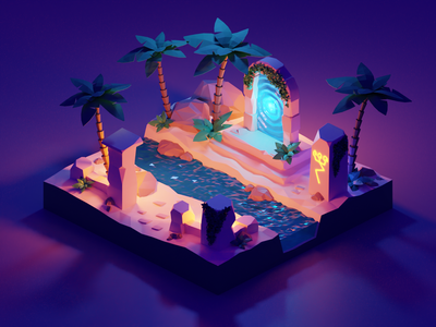 The Lost Portal isometric low poly polygon runway blender polygonrunway lowpoly illustration 3d