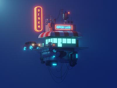 The Cloud Diner neon cyberpunk dieselpunk low poly polygon runway blender polygonrunway lowpoly illustration 3d