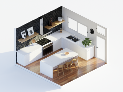 Midday in the Kitchen modern design kitchen low poly polygon runway blender polygonrunway lowpoly illustration 3d