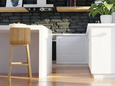 Close up's of the Midday Kitchen wood marble render photorealism contrast kitchen design low poly polygon runway blender polygonrunway lowpoly illustration 3d