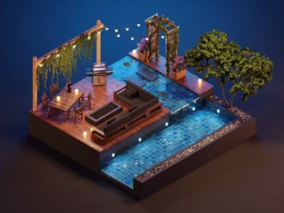 End the Summer in Beauty 🍷 beauty deck pool summer design low poly polygon runway blender polygonrunway lowpoly illustration 3d