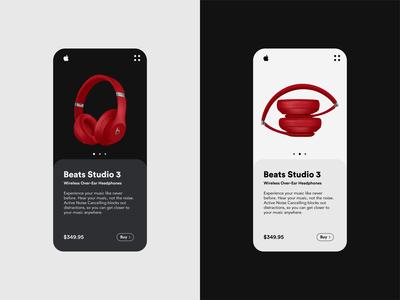 Beats Studio 3 dark app headphones beats apple light theme dark theme design ui app