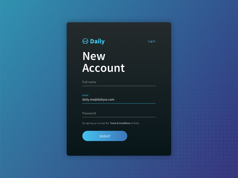 Daily UI - Signup register sign up account dark modal design modal form signup ux ui dailyui