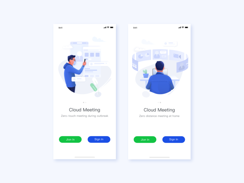 Cloud Meeting illustrator icon web ui illustration design app