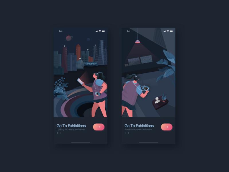 Go to the exhibition app vector ui design illustration