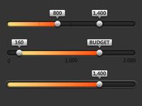 Dark Sliders ui interface slider counter dark orange
