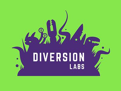 Diversion Labs V1 community retro color science fiction science monsters illustration icon logo brand branding
