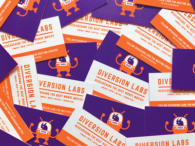 Diversion Labs Business Card illustration icon robot color fun movies retro logo branding print business card