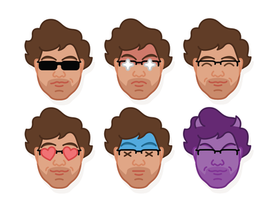 Self Portrait Emoji Icons video game flat male graphic character bright icon face color self portrait illustration