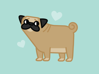 Sophie the Pug Dog pets animal drawing puglife pug icon flat vector illustration dogs