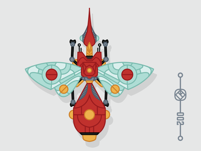 002 Scout Class fun insect bug robot game retro flat graphic icon drawing color illustration