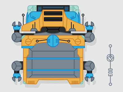 003 Heavy Transport Class fun insect bug robot game retro flat graphic icon drawing color illustration