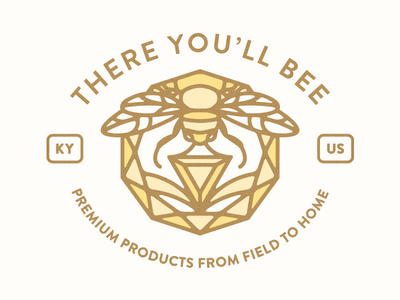 There You'll Bee premium bees nature bee drawing graphic retro logo brand branding color icon illustration